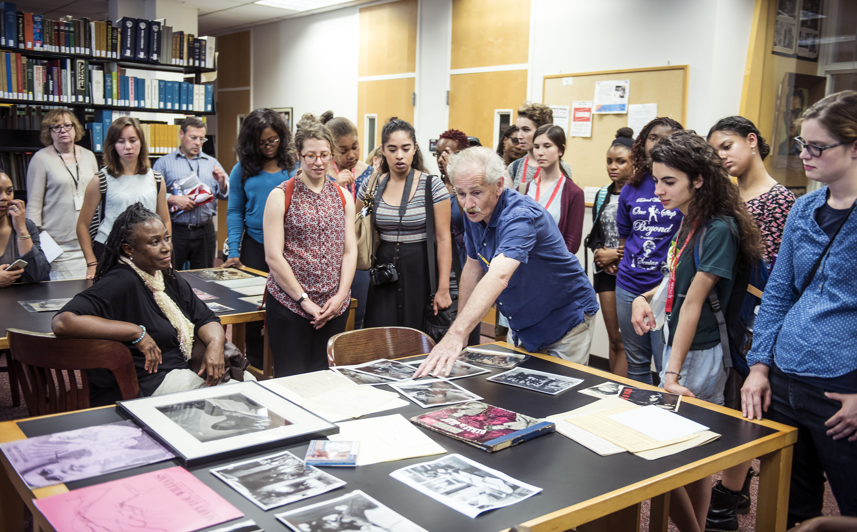 Tad Hershorn of the Institute of Jazz Studies shows students materials from Mary Lou Williams's archive.
